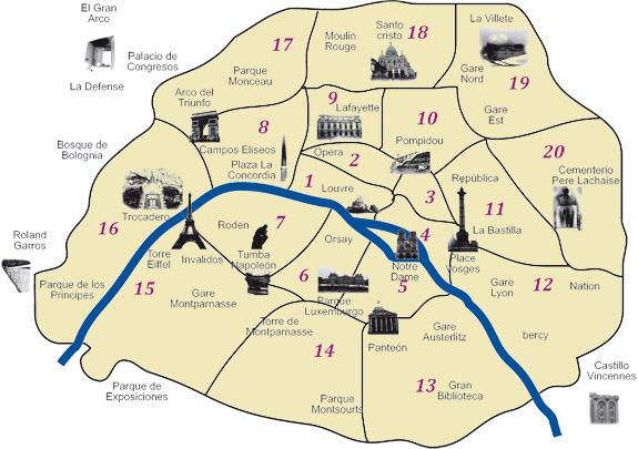 París mapa turístico